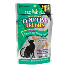 Pro Pac Tempting Tidbits Cat Treats Salmon & Shrimp Flavor 3 oz