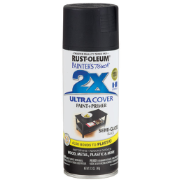 Rust-Oleum Painter 's Touch Ultra Cover 2X Semi Gloss Spray Paint Black 12 oz