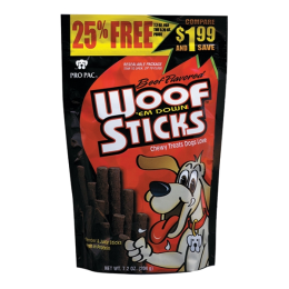 Pro Pac Beef Flavored Woof Em Down Sticks Dog Treats 7.2 oz