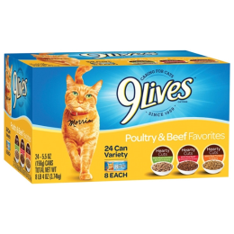 9 Lives Poultry and Beef Favorites Variety Pack of 24