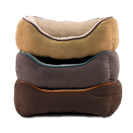 DMC Pet Bed Faux Suede Box Super Plush 25 in