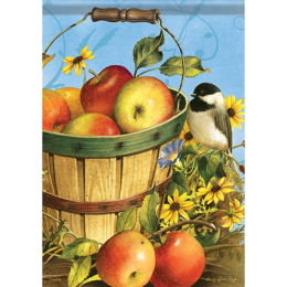 Carson Chickadees & Apple Garden Flag 13 in x 18 in