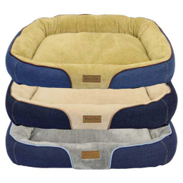 DMC Good Dog Denim Bolster Bed 34 in