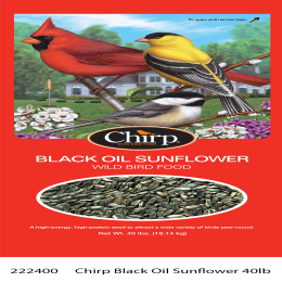 Chirp Black Oil Sunflower Bird Food 25 lb