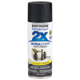 Rust-Oleum Painter 's Touch Ultra Cover 2X Gloss Spray Paint Flat Black 12 oz