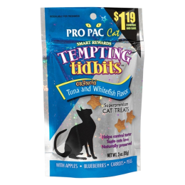 Pro Pac Tempting Tidbits Cat Treats Tuna & Whitefish Flavor 3 oz