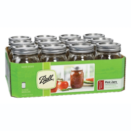 Ball Regular Mouth Mason Jars with Lids 1pt 12 Pack